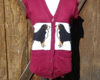 Unique Vintage Sweater Vest with Dog Design / Size Small/Medium