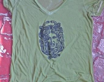 Green Burnout Medusa V-Neck T-Shirt Size L