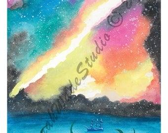 Galactic Kracken Watercolor by Sarah Wade - PRINT