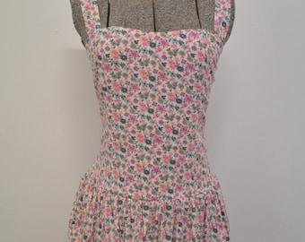 Vintage Floral Cotton Ra Ra Mini Dress