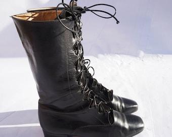 90s Salvatore Ferragamo Boots, Vintage Black Leather & Suede Lace Up Boots, 1990s Ferragamo Shoes, Size UK 4 USA 6 EU 37, Long Leather Boots