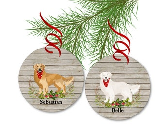 Golden Retriever Christmas Ornament - Dog Ornament - Personalized Golden or Cream Retriever Ornament - Pet Gifts - Dog Lover Gift