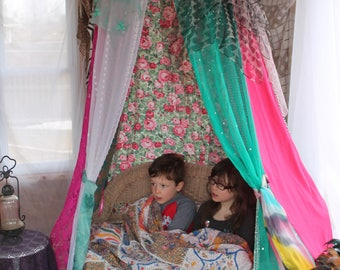 Rose Garden tent, Sunroom reading tent, hulahoop tent, hanging bed canopy