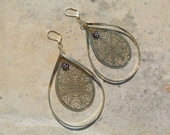 Gold Metal Earrings- Re-Vamped Vintage