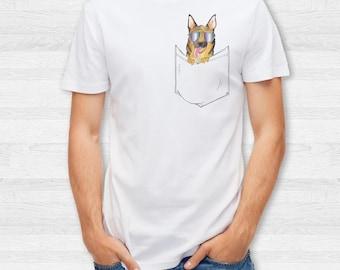 Men's German Shepherd Pocket T shirt, V Neck, baseball tee, sweatshirt, Hoodie, Zip Up, S, M, L, XL