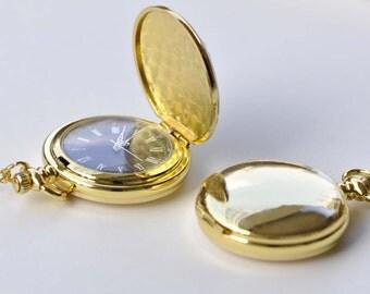 Shiny Gold Round Blank Pocket Watch Pendant Set of 1 A8769