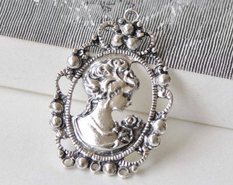 10 pcs Antique Silver Victorian Lady Oval Pendant Charms 32x45mm A8808