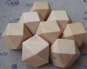 Faceted Wood Beads Geometric Figure Polygon Wooden Findings 10mm/12mm/14mm/16mm/21mm/25mm/30mm Lot of 20 HIGH QUALITY