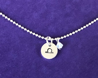 Zodiac necklace - Zodiac symbol and birthstone necklace - Zodiac sign and birthstone necklace - Astrological sign - Bridesmaids gifs