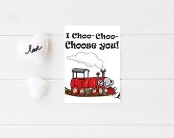 Nerdy Valentine Card - Funny Valentine Card - Digital Valentine Card - Printable Valentine Card - Train Valentine Card - Valentine for Him