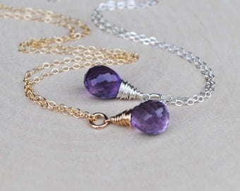 Amethyst Necklace, Purple Amethyst Necklace, Amethyst Jewelry, February Birthstone Necklace