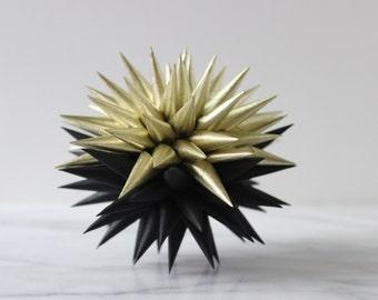 Polish Star Ornament Black and Gold Starburst | Jezyk Paper Star Modern Minimalist Folk Art Spiky Ornament Small Tree Topper, 4.5 inch