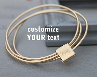 Custom engraved bracelet, Love bracelet, Love bangle bracelet, Personalized gold bangle, custom engraved bangle, love gift for women