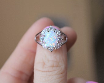 Opal Ring, White Opal Ring, Fire Opal Ring, Rainbow Opal Ring, Fire Opal, White Fire Opal,Promise Ring, Birthstone Ring, Lab Opal Ring