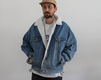 Levis Sherpa Light Wash Denim Oversized Snap Jacket Men's XL