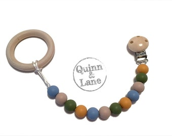 Silicone Teething Pacifier Clip with Natural Wood Teething Ring - Bite Beads Soother Clip - Chew Toy - Mango/Army/Oatmeal/Powder