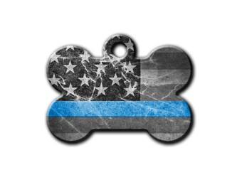 Back the Blue,Thin Blue Line pet Tag,Dog Id Tag,Police Pet Tag,Distressed Flag,metal Dog Tags,Bone Tag, Blue Fox Gifts,PET_055