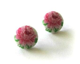 19mm Pink flower fabric covered button stud earrings, post earrings, fabric earrings