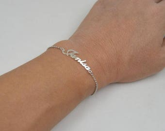 Name bracelet sterling silver-Personalized name jewelry-graduation gift for student-you can order any name