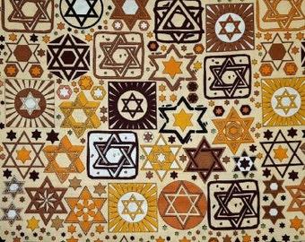 Judaica Fabric, Star of David Fabric, Jewish Fabric - Fay Nicholl FN 1808 Brown - priced by the half yard