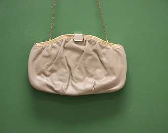 Vintage Tan Evening Bag [Etra Snakeskin Leather Cream Off White Purse Dressy Clutch Small Purse] 10 inches by 6 inches