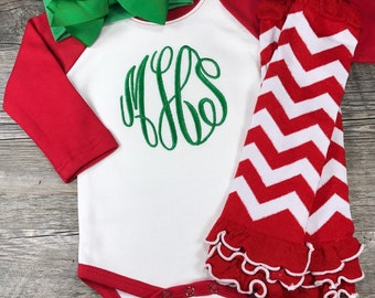 Baby Girl Christmas Outfit, Monogrammed Christmas Bodysuit with Bow Headband and Leg Warmers, Infant Coming Home Outfit, Newborn Pictures