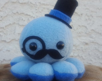 Blue Octopus Plush - Top Hat - Mustache - Monocle