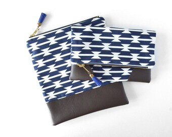 Navy Clutch Purse, Tribal Clutch Bag, Aztec Gift for Teen Girl, Blue Fold Over Bag, Boho Leather Clutch Wallet, Blue Folded Clutch Handbag