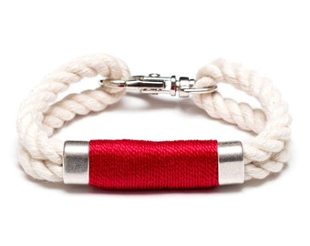 Nautical Rope Bracelet / Ivory Rope Bracelet / Silver Nautical Bracelet / Nautical Jewelry / Nautical Gift / Red Rope Bracelet