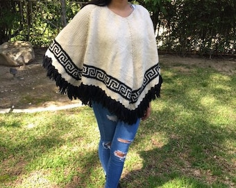 Poncho top ,Knit Poncho, Cream,Black, Soft, Fringed ,Aztec ,Indian Designs,poncho