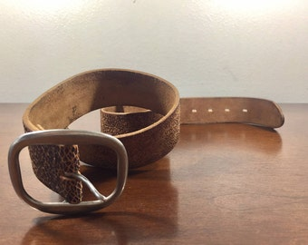 Brown Leather Belt, Silver Tone Buckle