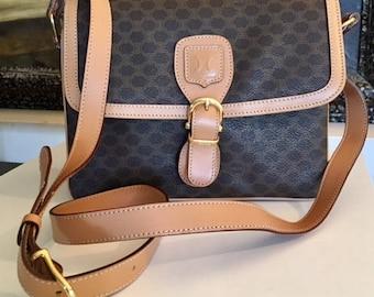 Celine Paris Macadam purse,bag,shoulder bag,MINT CONDITION,PVC,Leather trims,tan,brown,Made in Italy