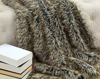 Luxurious Gray Tan Wolf Faux Fur Throw Blanket  - Gray, Brown Tip Spotted - Silky Soft Minky Cuddle Fur Back - Fur Accents Designs USA