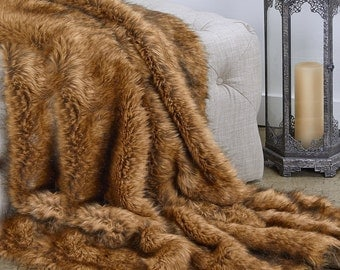 Luxurious Faux Fur Throw Blanket  - Brown Tip Coyote - Silky Soft Minky Cuddle Fur Back - Fur Accents Designs USA