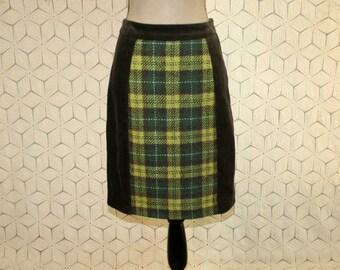 Brown Corduroy Skirt Green Plaid Skirt Cotton Wool Pencil Skirt Colorblock Short Skirt Size 8 Anthropologie Small Medium Womens Clothing