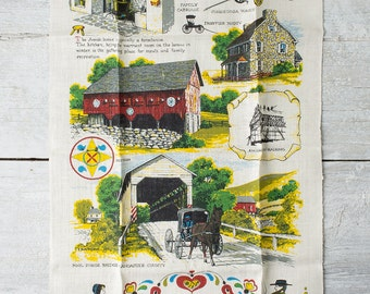 Vintage Kitchen Linen Towel - Dutch Country  - Dish Towel - Amish Decor - Kay Dee - R. Batchelder