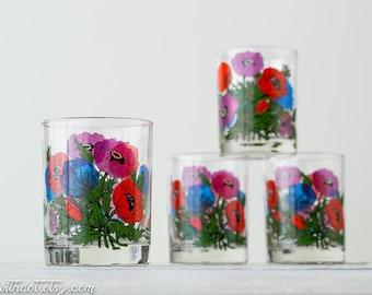 4 Vintage Drinking Glasses - Georges Briard - Vintage Barware - Floral Kitchen Glasses - Flower Glasses