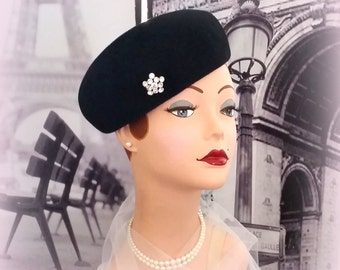 40s Black Wool Beret Toque - Sparkling Rhinestone Accent - Classy Little Number
