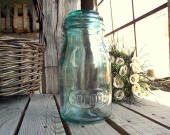 Vintage Canning Jar - French Mason Jar - Green Glass - Solidor - 3/4 Liter - Storage Jar - Kitchen Storage - French Kitchen - Home Decor