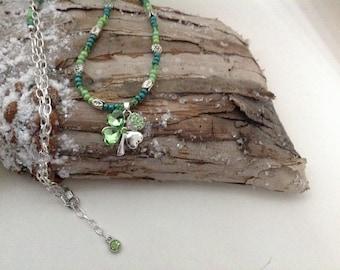 Four leaf clover pendant, St. Patrick's Day necklace, Stemerald pendant, cz four leaf clover pendant, silver St. Patrick's day pendant, gift