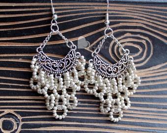 Silver chandelier earrings Bohemian earrings Beaded earrings Gypsy earrings Grey earrings Long earrings Openwork earrings Clusters earrings