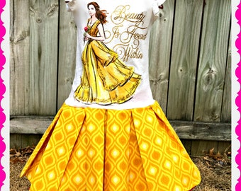girls Belle Beauty and the Beast dress 4/5 last one ready to ship