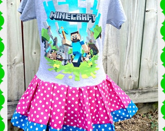 girls Minecraft dress creeper 4/5 6/6X 7/8 10/12 14/16 ready to ship