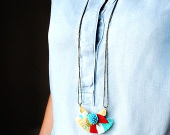 Necklace long-necked spiral coachella with flowers and pompons turquoise, red, green, spring, summer