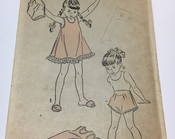 """Advance 4917 Vintage 1940s Sewing Pattern: Girl's Slip - Nightie - Nightgown and Panties - Bloomers, Size 6 (24"""" Bust/Chest)"""