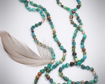 Turquoise Necklace   Long Wrap  Wrap Necklace   Turquoise and Pearl with Pyrite  Hand Knotted Silk Nacklace