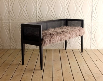 Vintage Hollywood Regency Caned Settee Loveseat by Baker Grey Faux Fur Fabric Ebony Wood Frame Cane Hollywood Regency Black