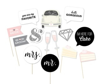 Wedding Photo Booth Props - Photo Props - Bride to be - Wedding Shower - Bridal Shower - You are my favorite - Pink Wedding - Blush Wedding