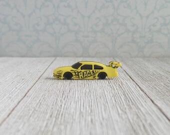 Race Car - Yellow Race Car - NASCAR - Groomsmen Boutonniere - Lapel Pin