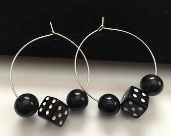 Dice Earrings, Dice Hoop Earrings, Black Dice Earrings